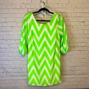 Pink Owl lime green chevron zipper dress